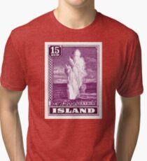 1938 Iceland Geysir Postage Stamp Tri-blend T-Shirt
