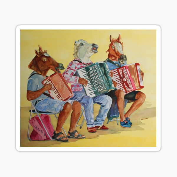 Horsing Around With Accordions Sticker