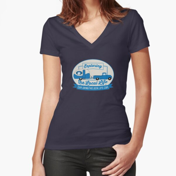 Exploring the Local Life Blue Truck and Camper Fitted V-Neck T-Shirt