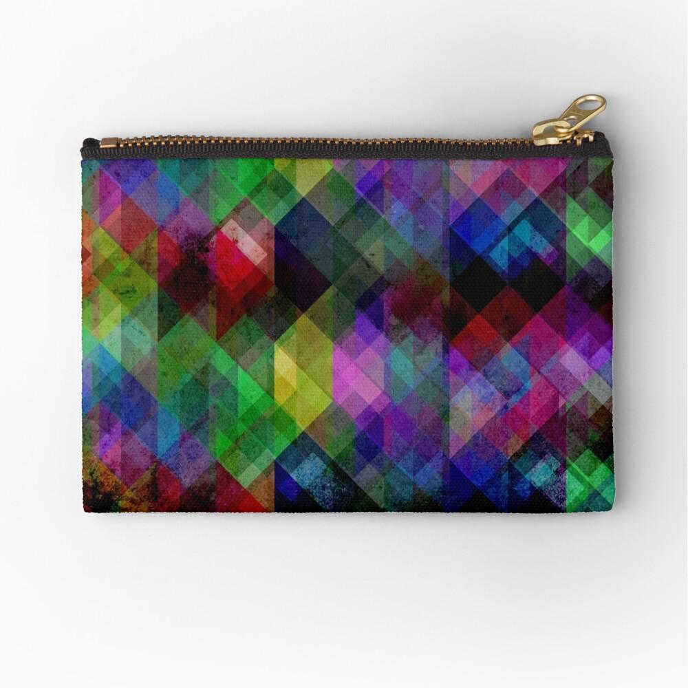 Geometric Grunge Abstract Zipper Pouch