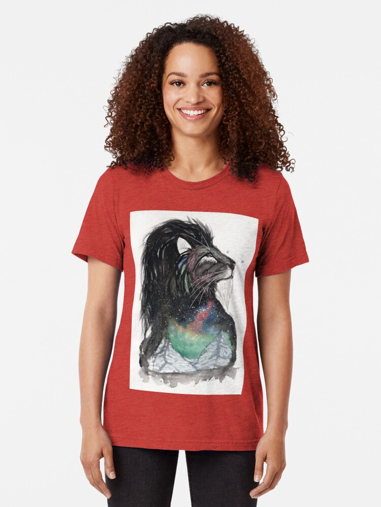 Alternate view of Realis the Aurora Lion. Tri-blend T-Shirt