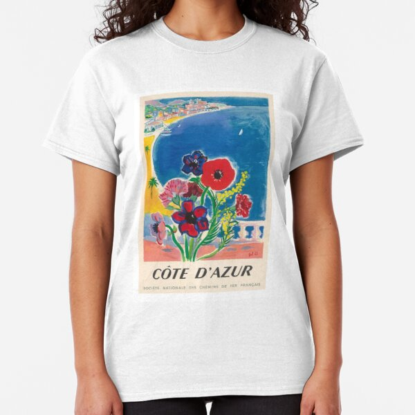 1947 Cote d'Azur French Riviera Vintage World Travel Poster Classic T-Shirt