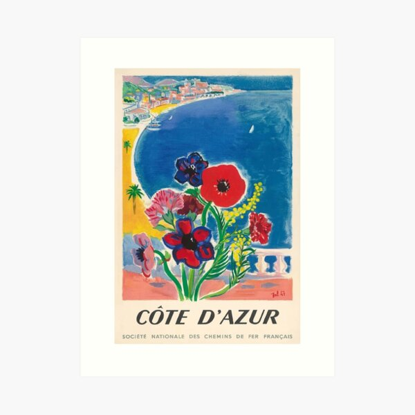 1947 Cote d'Azur French Riviera Vintage World Travel Poster Art Print