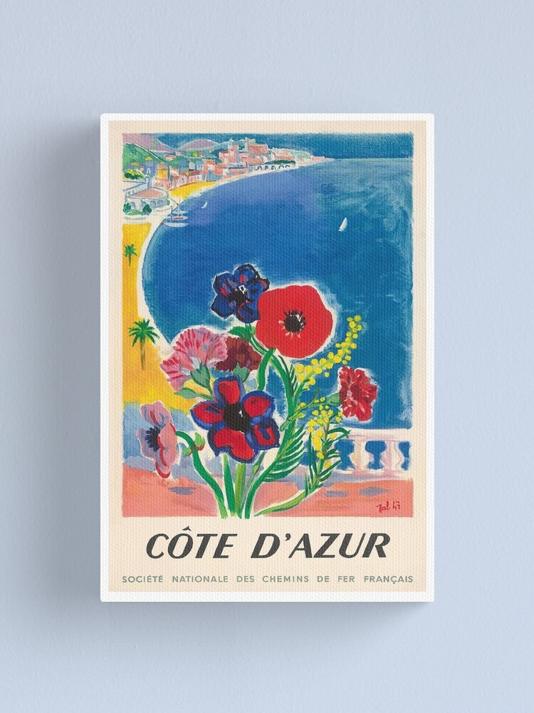 Alternate view of 1947 Cote d'Azur French Riviera Vintage World Travel Poster Canvas Print