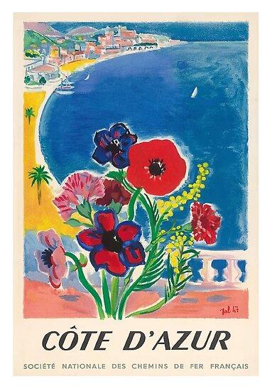 Jahrgang 1947 Cote d'Azur Französisch Riviera Vintage World Travel Poster von retrographics