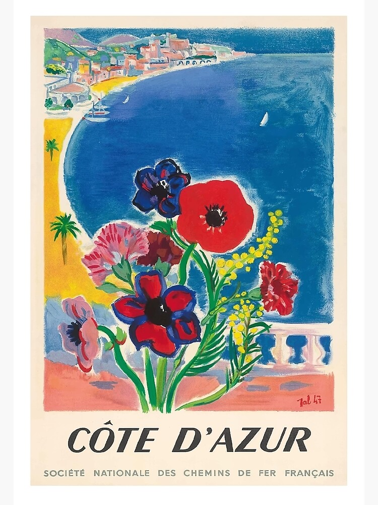1947 Cote d'Azur French Riviera Vintage World Travel Poster by retrographics