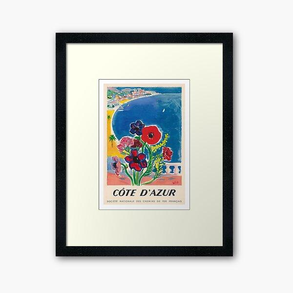 1947 Cote d'Azur French Riviera Vintage World Travel Poster Framed Art Print