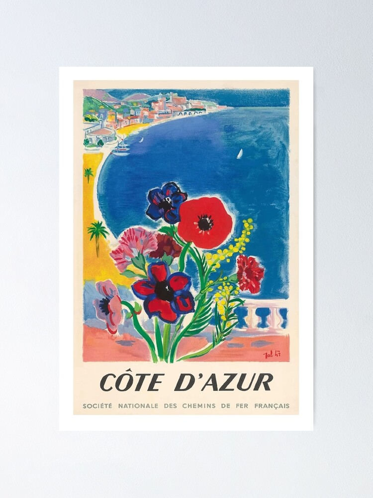 Alternate view of 1947 Cote d'Azur French Riviera Vintage World Travel Poster Poster