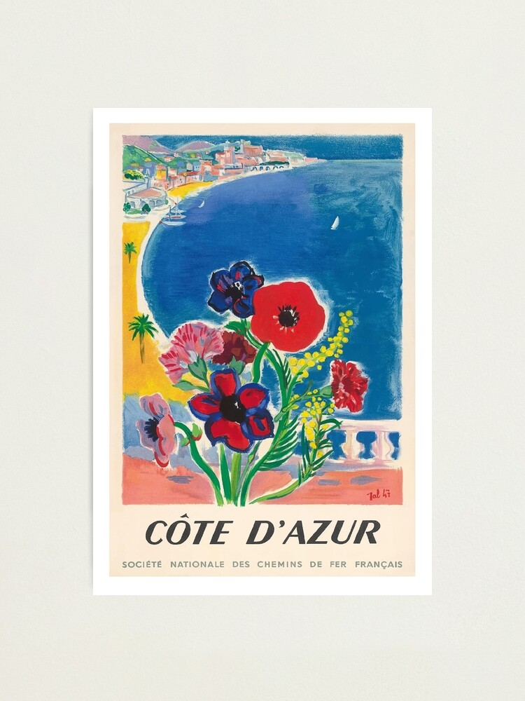 Alternate view of 1947 Cote d'Azur French Riviera Vintage World Travel Poster Photographic Print