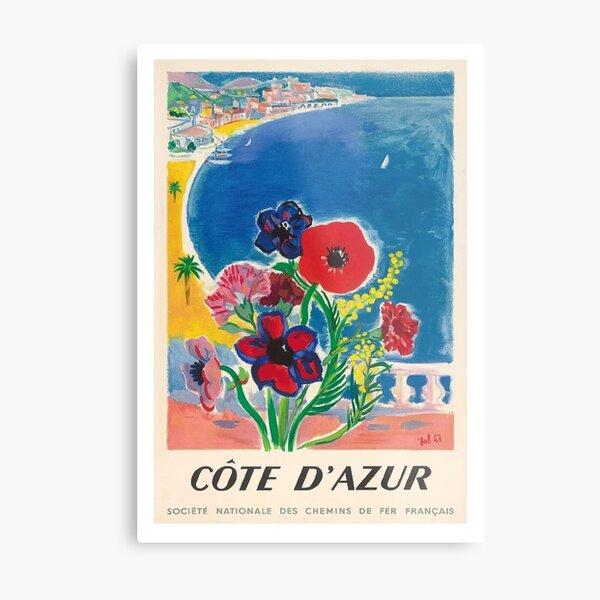 Jahrgang 1947 Cote d'Azur Französisch Riviera Vintage World Travel Poster Metallbild
