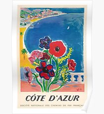 1947 Cote d'Azur French Riviera Vintage World Travel Poster Poster