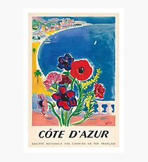 1947 Cote d'Azur French Riviera Vintage World Travel Poster Photographic Print