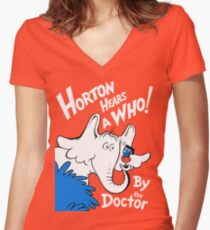 Horton Hears Doctor Who! Women's Fitted V-Neck T-Shirt