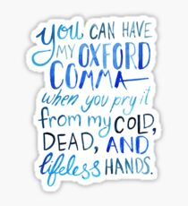 Oxford Comma Grammar Joke Blue Watercolour Typography Sticker