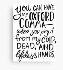 Oxford Comma Grammar Joke - Black Lettering Canvas Print