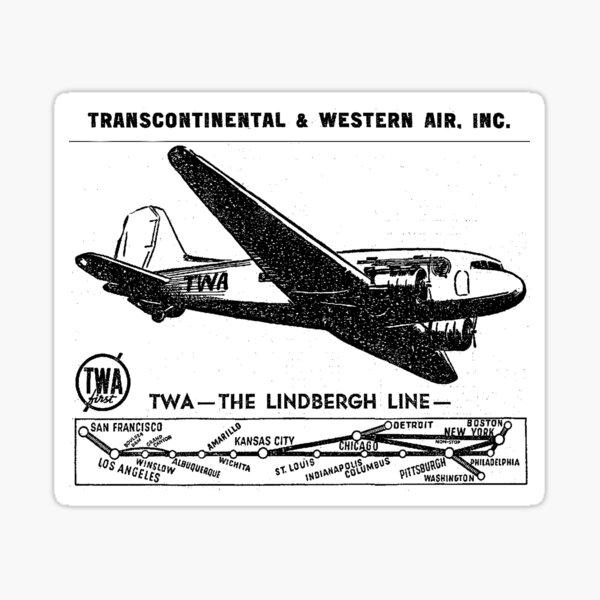 TWA Plane and System Map, 1937 Sticker