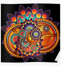 Colorful Trippy Funky Abstract Jazz Pattern Poster