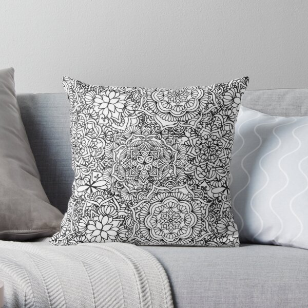 Happy Mandalas Throw Pillow