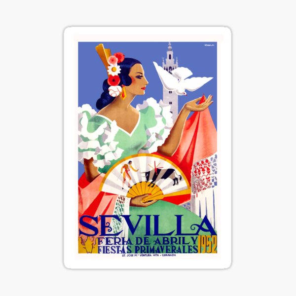 Cartel de la Feria de Abril de Sevilla, España, 1952 Pegatina