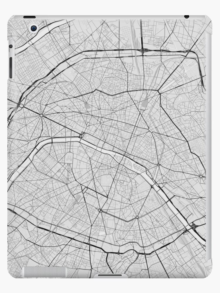 Paris Map Black And White.Paris France Map Black On White Ipad Cases Skins By Graphical