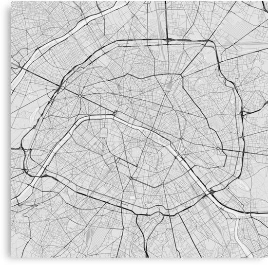 Paris Map Black And White.Paris France Map Black On White Canvas Prints By Graphical Maps