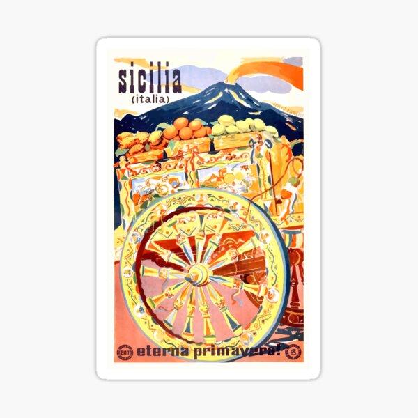 1947 Sicily Italy Travel Poster Eternal Spring Sticker
