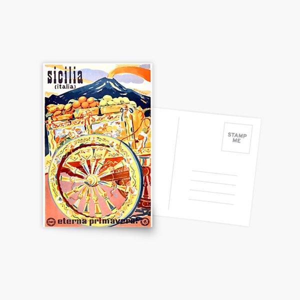 1947 Sicily Italy Travel Poster Eternal Spring Postcard