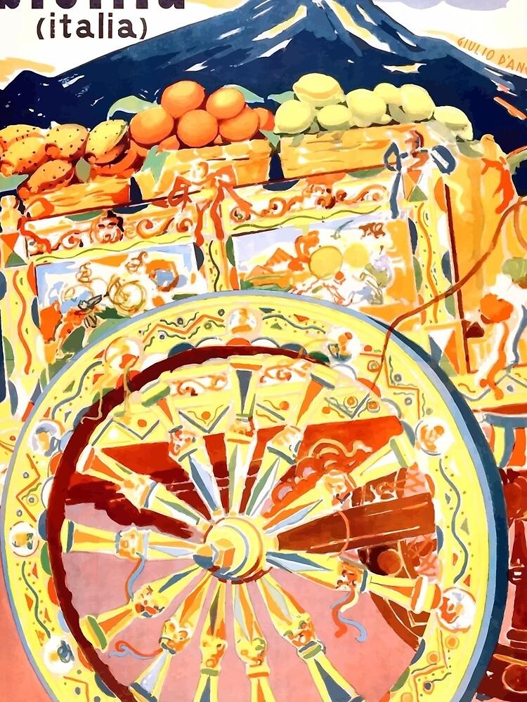 Sizilien-Italien-Reise-Plakat 1947 Ewiger Frühling von retrographics
