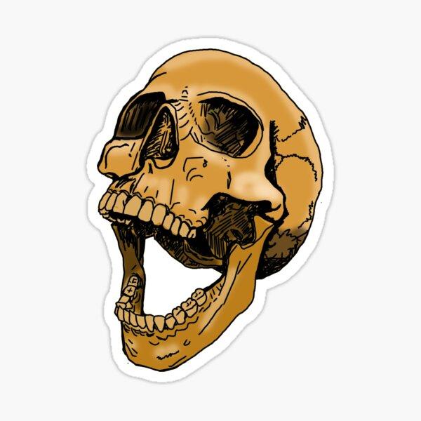 skull tea coloured Sticker