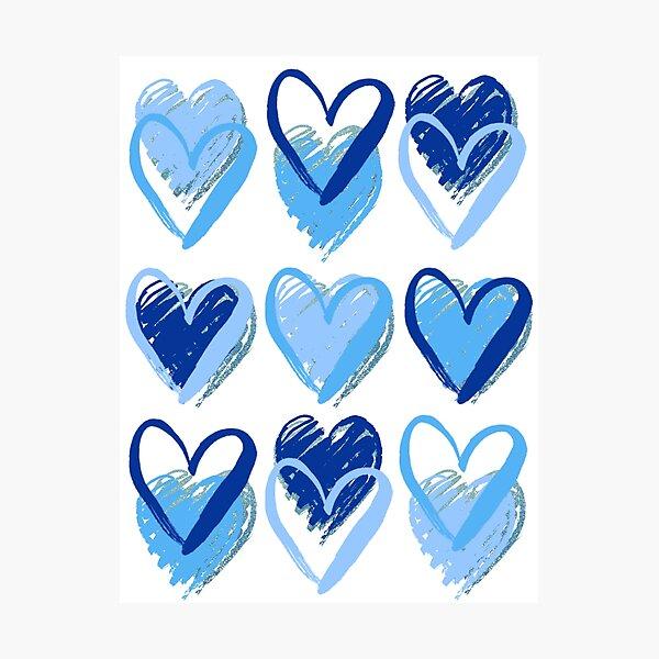 blue hearts Photographic Print