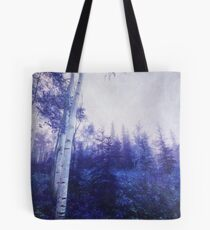 Wander trough the foggy forest Tote Bag