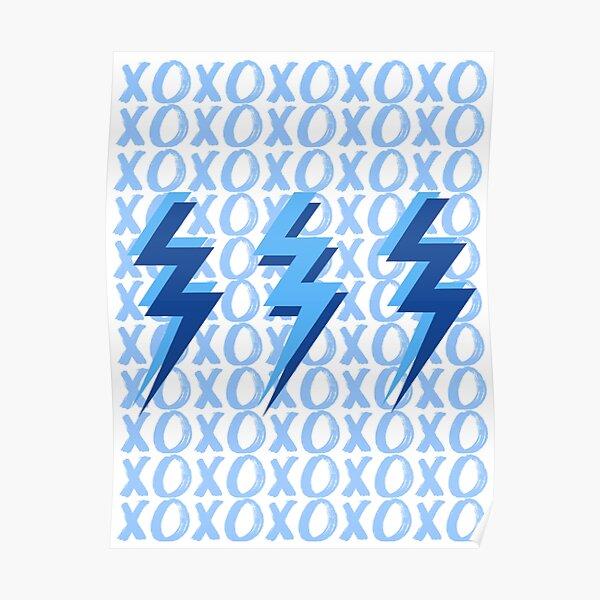 xoxo lightning bolts - blue Poster