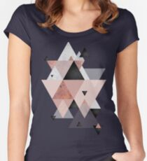 Geometric Compilation in Rose Gold and Blush Pink Women's Fitted Scoop T-Shirt
