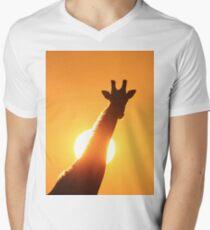 Giraffe Silhouette - Golden Sunset African Wildlife Mens V-Neck T-Shirt