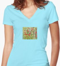 Red Corn Poppies Women's Fitted V-Neck T-Shirt