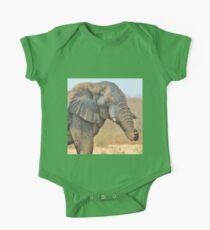 Elephant Bull - Beautiful Mud - African Wildlife One Piece - Short Sleeve