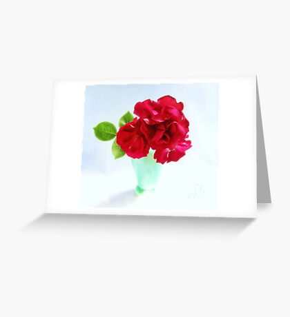 Red Red Roses Still Life Greeting Card