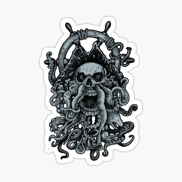 Ghost Octopus Pirate Captain Artwork Sticker