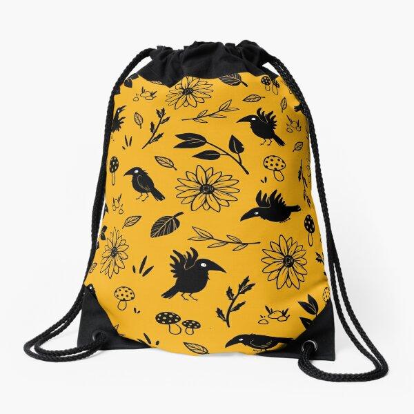 Crows and Foliage Drawstring Bag