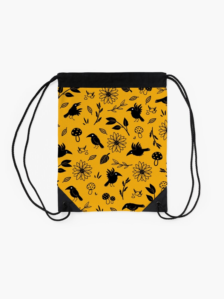 Alternate view of Crows and Foliage Drawstring Bag
