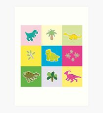 Dinosaurs in colored rectangles Art Print