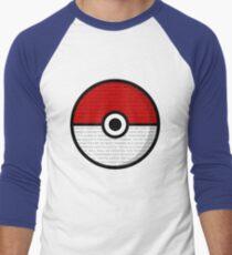 Pokéball with Pokémon Theme Lyrics Men's Baseball ¾ T-Shirt