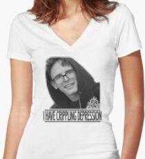 I Have Crippling Depression - IDubbbzTV Women's Fitted V-Neck T-Shirt