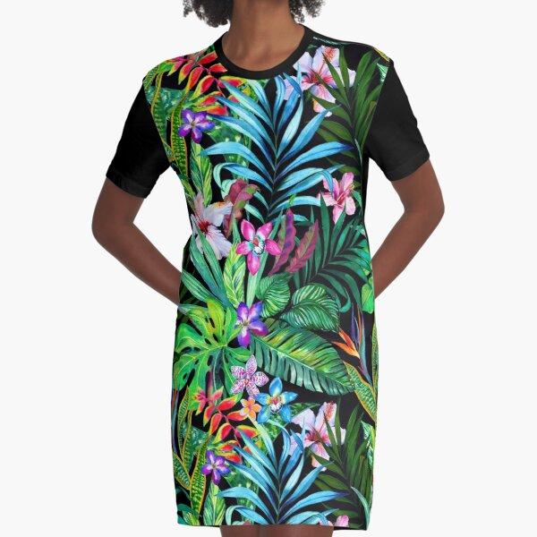 Tropical Fest Graphic T-Shirt Dress