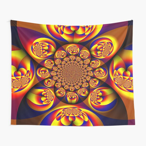 Blue, Yellow, Gold, Mini Spheres Tapestry