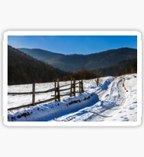 snowy road to coniferous forest in mountains Sticker