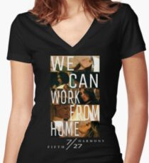 FIFTH HARMONY PHOTOSHOOT, WE CAN WORK FROM HOME Women's Fitted V-Neck T-Shirt