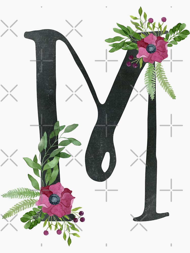 Monogram M with Floral Wreath by helga-wigandt
