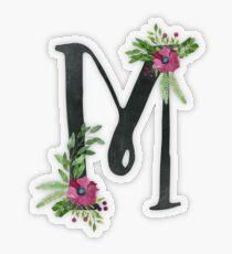 Monogramm M mit Blumenkranz Transparenter Sticker