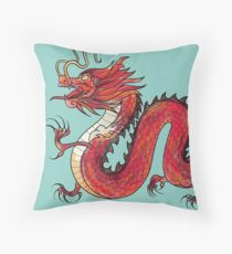 Oriental Red Dragon Throw Pillow